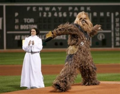 Chewbacca throws out the first pitch
