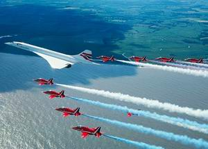 Concorde with Red Arrows