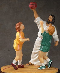 Jesus taking it to the hoop