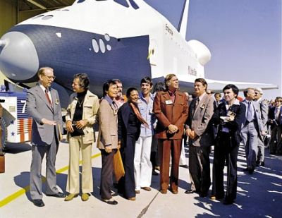 Star Trek actors with Space Shuttle Enterprise