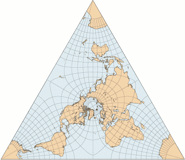 tetrahedral map projection